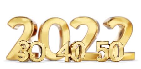 2021 and 30 40 50 golden bold letters symbol 3d illustration