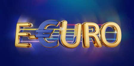 e-Euro golden bold letters symbolic digital currency of Europe 3d-illustration 版權商用圖片