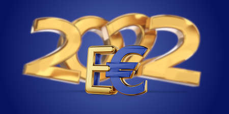 2022 symbolic golden E-Euro as Euro Coin, digital currency of Europe 3d-illustration 版權商用圖片