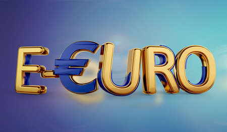symbolic golden E-Euro as Euro Coin, digital currency of Europe 3d-illustration 版權商用圖片