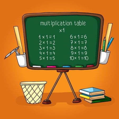 deuce: illustration of school. school board, the multiplication table, Books, ruler, pencil holder, dustbin