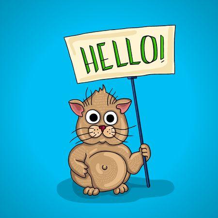 greet eyes: chubby little hamster. signboard, billboard that says Hello