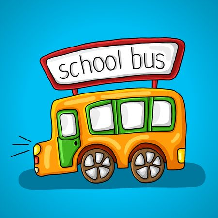 windows and doors: Yellow school bus. lights, windows, doors, wheels and a sign with the inscription on the roof of the bus Illustration