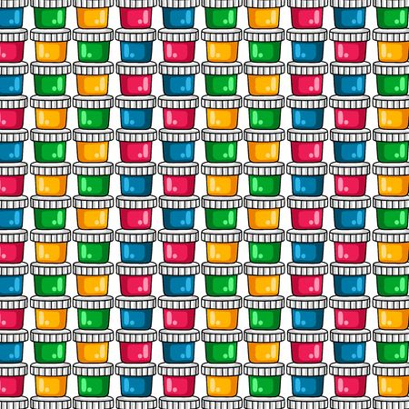 line drawings: Pattern. Paints for drawing. A set of colored paints on a white background
