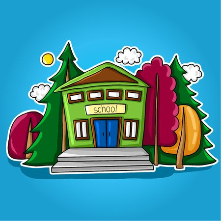 Illustration of a stylized school building with windows, stairs, doors and roof among trees, sun and clouds Illustration