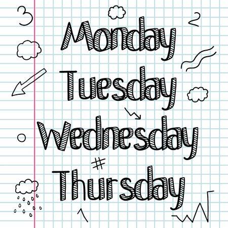bar line: Doodle sketchy. A set of signs, words, days of the week.Hand drawing. Bar. Line drawing.Doodle Lettering. Illustration