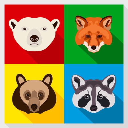 Set of animals with Flat Design. Symmetrical portraits of animals. Vector Illustration. Polar bear, raccoon, red fox, brown bear. A set of symmetric vector portraits animals. Icon Set. Animal face.