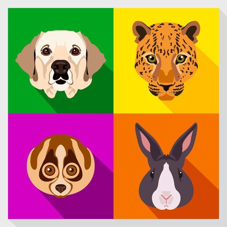 labrador dog: Set of animals with Flat Design. Symmetrical portraits of animals. Vector Illustration. Labrador dog, lemur, leopard, rabbit. A set of symmetric vector portraits animals. Icon Set. Animal face.