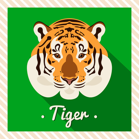 tiger head: Vector portrait of a tiger. Symmetrical portraits of animals. Vector Illustration, greeting card, poster. Icon. Animal face. Font inscription. Image of a tigers face.