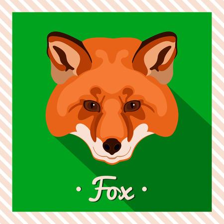 zorro: Vector retrato de un zorro rojo. Retratos simétricos de animales. Ilustración vectorial, tarjeta de felicitación, póster. Icono. Cara Animal. Inscripción Fuente. Imagen de la cara de un zorro rojo.