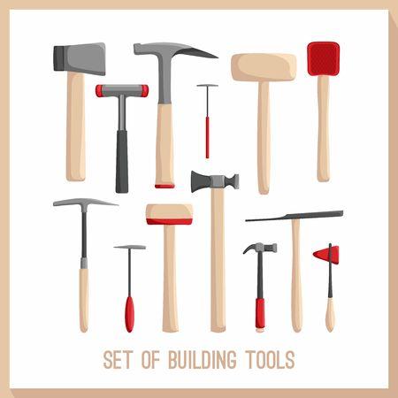 herramientas de construccion: Conjunto de herramientas de construcci�n. Edificios herramientas iconos conjunto. S�mbolos dise�o plano. Herramientas de la construcci�n, la construcci�n de herramientas aisladas. Martillo, hacha de guerra.