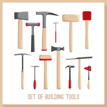 power tools: Set of building tools. Buildings tools icons set. Flat design symbols. Construction tools, building tools isolated. Hammer, hatchet.