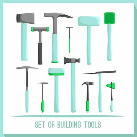 herramientas de construccion: Set of building tools. Buildings tools icons set. Flat design symbols. Construction tools, building tools isolated. Hammer, hatchet.