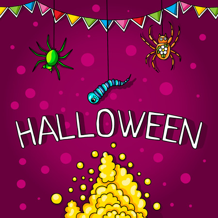 spider webs: Postcard, poster for Halloween. Holiday magic, spiders, worms, spider webs. The flags for decoration. Decorative elements. Thick smoke.