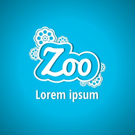 large group of object: Light logo for the zoo. Zoo, font, lettering, flowers. Corporate styles vector logo design Illustration