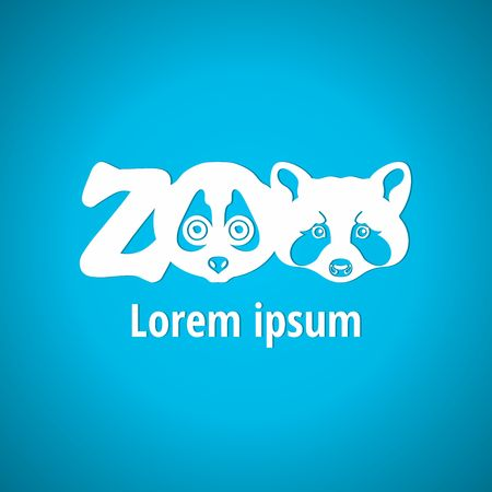 zoo: Light logo for the zoo. Silhouette muzzle animals, face animals. Zoo, font, lettering. Corporate styles vector logo design