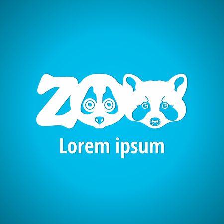 zoo: Luz de insignia para el zoológico. Animales bozal silueta, se enfrentan a los animales. Zoo, fuente, letras. Estilos Corporativos logotipo de diseño vectorial Vectores