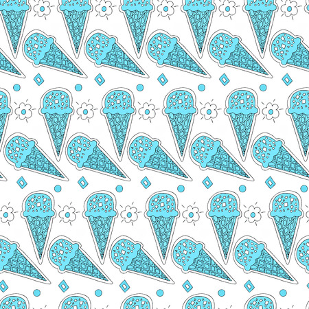 circl: Seamless pattern of sweet ice cream in a waffle cone surrounded by flowers and circles on a light background. Seamless pattern of waffle cone. Ice cream seamless pattern. Illustration