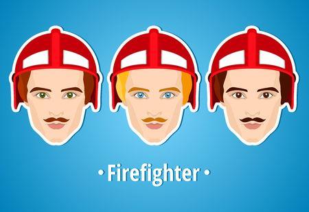 bombero de rojo: Conjunto de ilustraciones de vectores de un bombero. bombero hombre. Icono. icono plana. El minimalismo. El hombre estilizado. Ocupaci�n. Trabajo. Uniformes, casco fuego. El hombre con bigote.