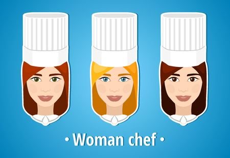 cook cap: Set of vector illustrations of a woman chef. Woman chef. The girls face. Icon. Flat icon. Minimalism. The stylized girl. Occupation. Job. Uniforms, cook cap. Illustration