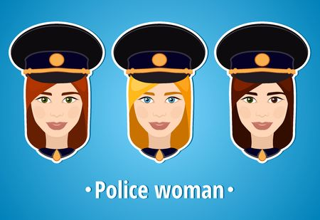 police girl: Set of vector illustrations of a girl police. Woman police. The girls face. Icon. Flat icon. Minimalism. The stylized girl. Occupation. Job. Uniforms, police cap.