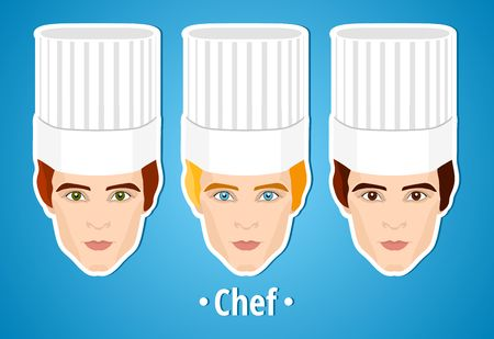 cook cap: Set of vector illustrations of a male chef. Man. The manss face. Icon. Flat icon. Minimalism. The stylized Man. Occupation. Job. Uniforms, cook cap.