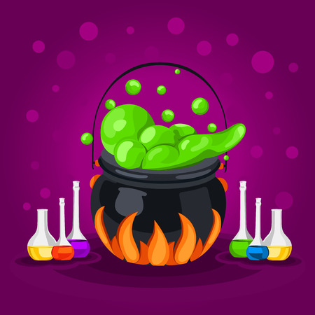 chemical reaction: Sweet Halloween. Happy Halloween. Poster, postcard for Halloween. The holiday, witches cauldron, potion, bottles, chemical reaction, magic. Bright vector illustration for celebration. Banner or background for Halloween Party Night. Illustration