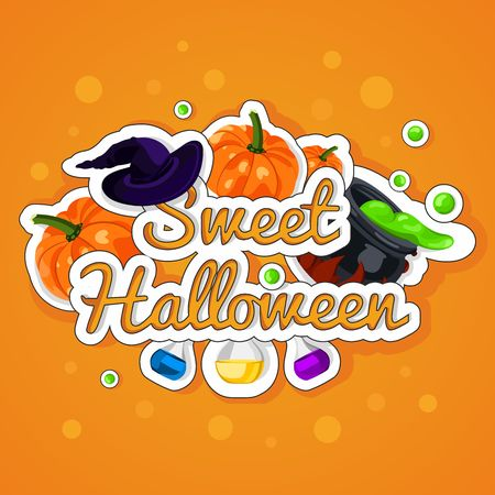 chemical reaction: Sweet Halloween. Happy Halloween. Poster, postcard for Halloween. The holiday, pumpkins, witches cauldron, potion, bottles, chemical reaction, magic. Bright vector illustration for celebration. Banner or background for Halloween Party Night. Illustration
