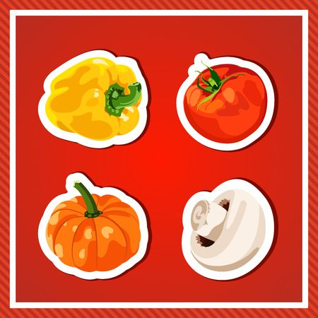 pumpkin tomato: Set of vector vegetables. Isolated vegetables. Fresh and healthy food. Diet. Bright, juicy vegetables on a red background. Tomato, yellow pepper, mushroom, pumpkin. Stickers, decals.