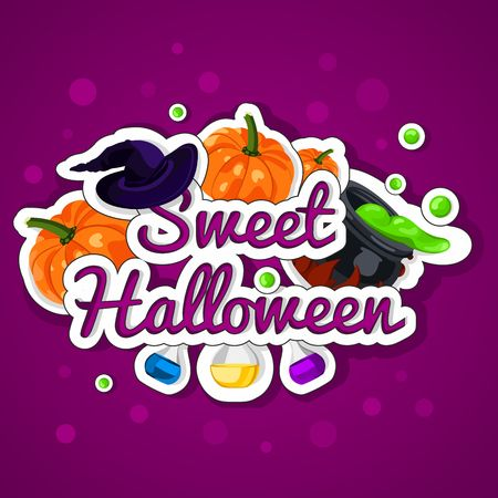 magic cauldron: Sweet Halloween. Happy Halloween. Poster, postcard for Halloween. The holiday, pumpkins, witches cauldron, potion, bottles, chemical reaction, magic. Bright vector illustration for celebration. Banner or background for Halloween Party Night. Illustration