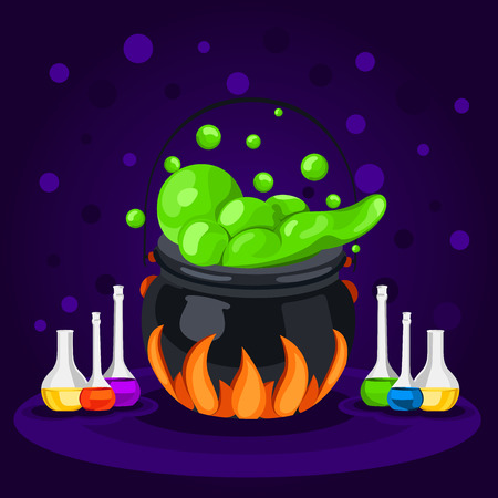 magic cauldron: Sweet Halloween. Happy Halloween. Poster, postcard for Halloween. The holiday, witches cauldron, potion, bottles, chemical reaction, magic. Bright vector illustration for celebration. Banner or background for Halloween Party Night. Illustration