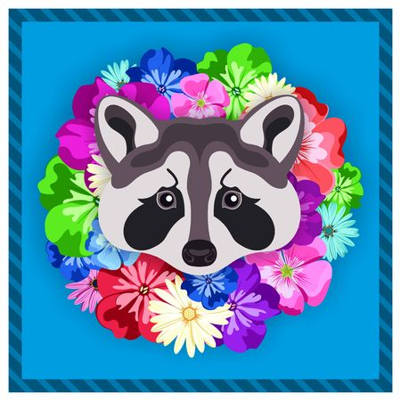 rim: Vector portrait of a grey raccoon among the flowers. Beautiful, bright colors. Flower frame, rim. Symmetrical portraits of animals. Vector Illustration, greeting card, poster. Icon. Animal face. Font inscription. Image of a grey raccoon face. Illustration
