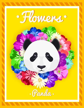 rim: Vector portrait of a panda among the flowers. Beautiful, bright colors. Flower frame, rim. Symmetrical portraits of animals. Vector Illustration, greeting card, poster. Icon. Animal face. Font inscription. Image of a pandas face. Illustration