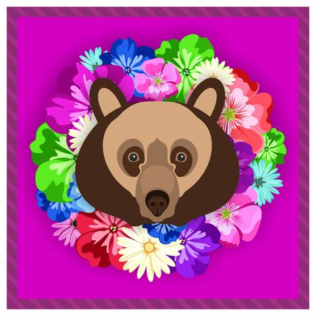 rim: Vector portrait of a brown bear among the flowers. Beautiful, bright colors. Flower frame, rim. Symmetrical portraits of animals. Vector Illustration, greeting card, poster. Icon. Animal face. Font inscription. Image of a brown bear face. Illustration