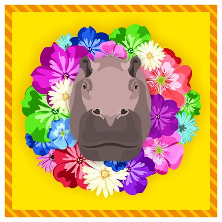 rim: Vector portrait of a hippopotamus, hippo among the flowers. Beautiful, bright colors. Flower frame, rim. Symmetrical portraits of animals. Vector Illustration, greeting card, poster. Icon. Animal face. Font inscription. Image of a hippopotamus, hippo face Illustration