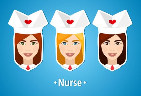 nanny: Set of vector illustrations of a nurses. Nurse, nanny. The girls face. Icon. Flat icon. Minimalism. The stylized girl. Occupation. Job. Uniforms, nurse cap.
