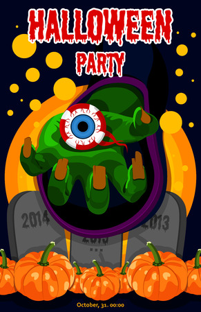 chemical reaction: Sweet Halloween. Happy Halloween. Poster, postcard for Halloween. The holiday, witches hand, potion, chemical reaction, magic, harvest pumpkins, human eye. Bright vector illustration for celebration. Banner or background for Halloween Party Night. Horribl