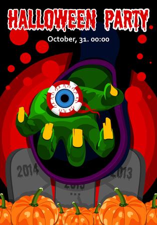 ojo humano: Dulces de Halloween. Feliz Halloween. Cartel, postal para Halloween. El d�a de fiesta, brujas parte, poci�n, reacci�n qu�mica, la magia, las calabazas de la cosecha, el ojo humano. Ilustraci�n vectorial brillante para la celebraci�n. Bandera o fondo para el partido de la noche de Halloween. Horribl