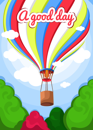 sky clouds: Vector illustration of a hot air balloon, trees, clouds. Beautiful, colorful balloon, hot air balloon. Greeting card, poster. Good day, air, nature, sky, clouds, green trees. Summer background. Illustration