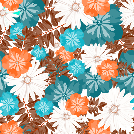tropical flower: Beautiful floral pattern. Seamless pattern. Flowers. Bright buds, leaves, flowers. Flowers for greeting cards, posters, flyers. Flower shop. Seamless vintage tropical flower pattern vector.