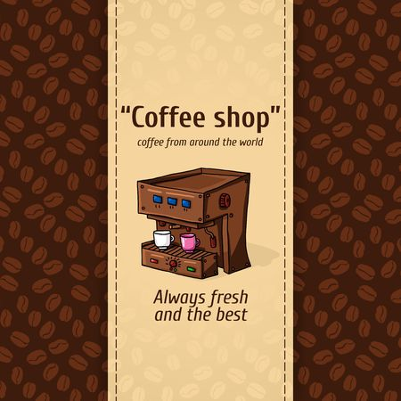 automatic machine: Set vector illustration of vintage coffee backgrounds. Automatic machine for coffee with two small circles. Menu for restaurant, cafe, bar, coffeehouse. Seamless pattern, texture of coffee beans. Advertising for cafes, restaurants and cafes.