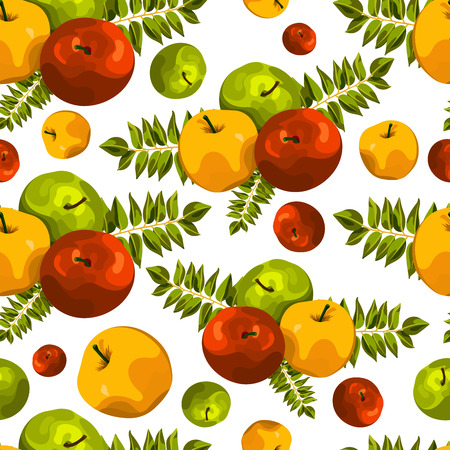 Stylish seamless pattern of leaves and apples. Fruit pattern. Apple harvest. Beautiful background for greeting cards, invitations, textiles, fabrics, wallpaper. Seamless vintage pattern of fruit. Autumn pattern. Apple pattern.