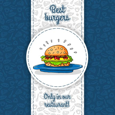 hamburger bun: Big hamburger with cheese, sauce, two burgers, lettuce, lying on big blue plate. Vector work for flyers, menus, packaging, advertising, cafes and restaurants. Seamless pattern, texture of restaurant.