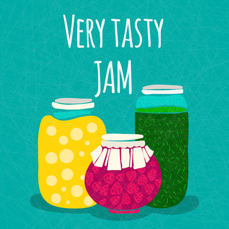 fresh juice: Vector illustration Very tasty jam. Banks with homemade jams and preserves. Strawberry dessert. Strawberry jam. Healthy and tasty food. Hand drawn isolated food object. Vector cartoon. Illustration