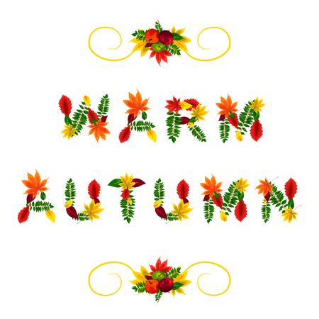 jaune rouge: Carte d'automne. Automne chaud. Belles lettres compos�es de belles feuilles rouges, jaunes, vertes et oranges automne.