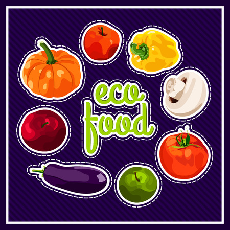 fruit and vegetable: The stylish poster with a set of vector vegetables. Eco food. Autumn harvest. Healthy foods. Fresh and healthy food. Diet. Tomato, yellow pepper, mushroom, pumpkin. Sticker. Print.