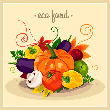 pumpkin tomato: The stylish poster with a set of vector vegetables. Eco food. Autumn harvest. Healthy foods. Fresh and healthy food. Diet. Tomato, yellow pepper, mushroom, pumpkin. Sticker. Print.
