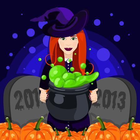 bruja: Feliz Halloween. Cartel, postal para Halloween. Hermosa bruja, caldera de las brujas, sombrero de bruja, poción, calabaza. Ilustración vectorial de celebración. Bandera o fondo para el partido de la noche de Halloween.