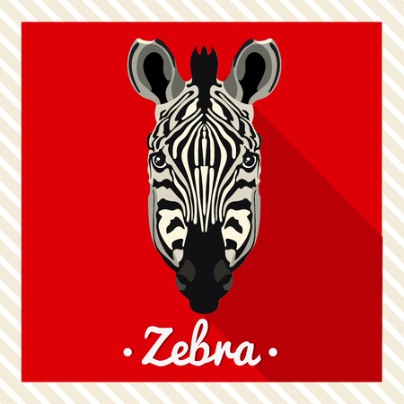 zebra face: Vector portrait of a zebra. Symmetrical portraits of animals. Vector Illustration, greeting card, poster. Icon. Animal face. Font inscription. Image of a zebras face. Illustration