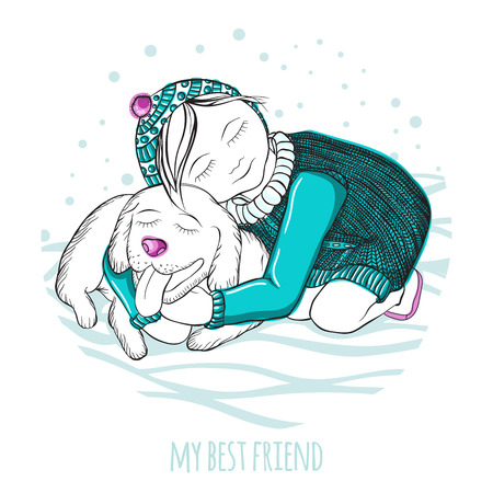 winter girl: Vector illustration. My best friend. Little girl hugging a good dog. Hand drawing. Winter picture. The falling snow. Childrens picture for greeting cards. Picture a little girl, knitted sweater, hat.